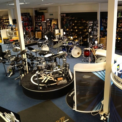 Our Drum Dept, full of Electric Drums, Acoustic Drums and a huge range of Drum Accessories